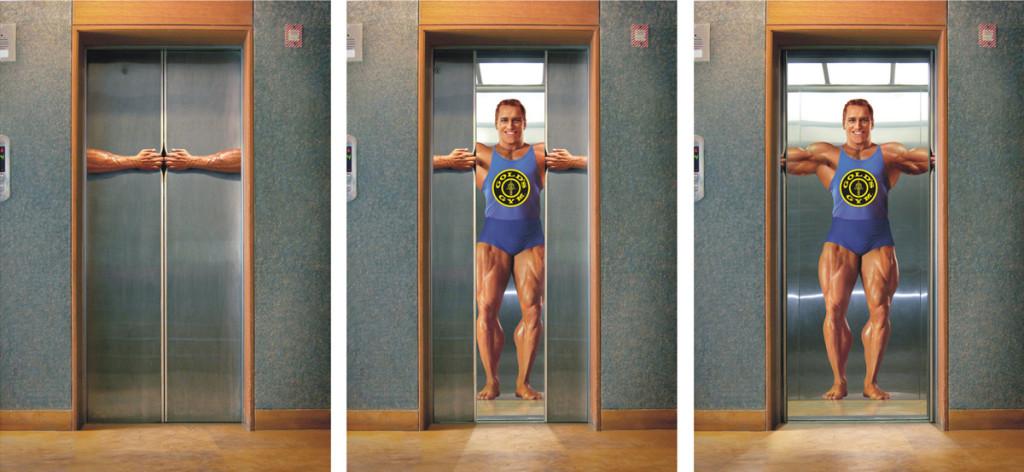 Реклама фитнеса в лифте жилого дома