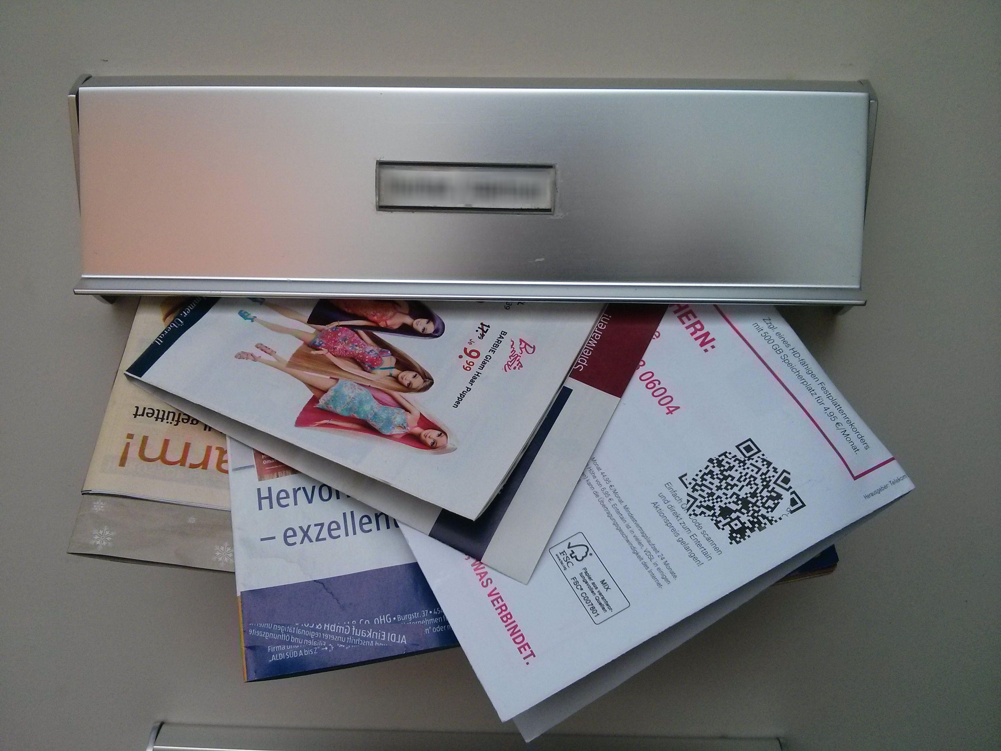 Заполненный почтовый ящик